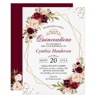 Blush Burgundy Floral Quinceañera 15th Birthday
