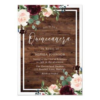 Blush Burgundy Red Floral Rustic Wood