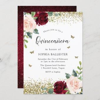 Blush & Burgundy Red Flowers Party