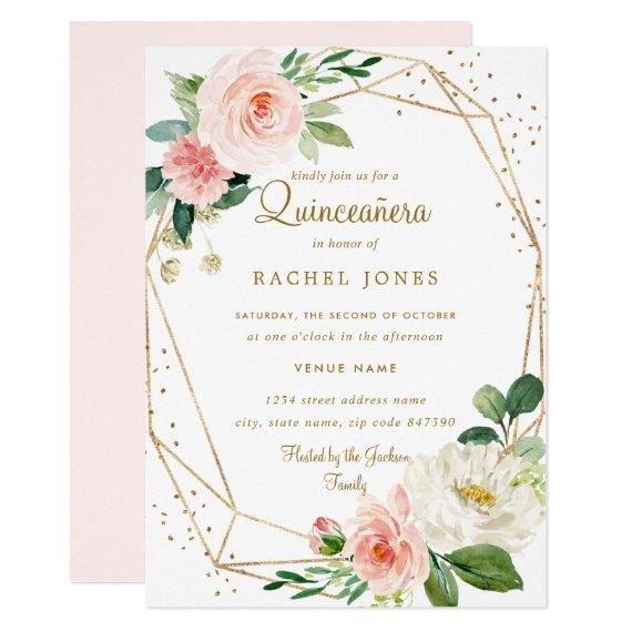 Blush Gold Floral Geometric