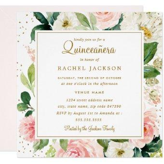Blush Gold Floral Watercolor Invite
