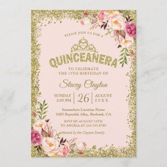 Blush Gold Pink Floral 15th Birthday
