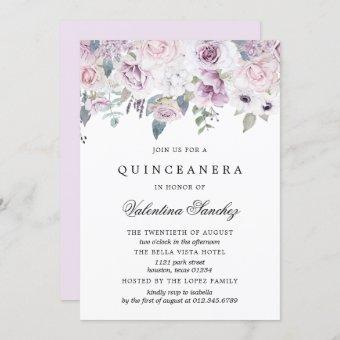 Blush Pink and Purple Watercolor Floral Quinceaner