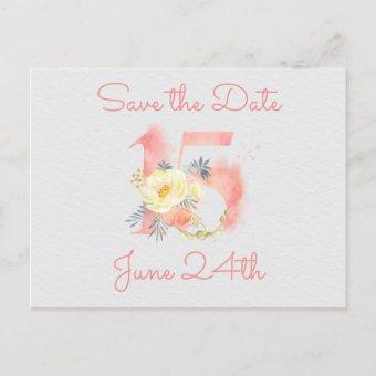 Blush Pink Floral Number 15 Save the Date Announcement Post