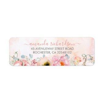 Blush Pink Floral Pumpkins Elegant Fall Party Label