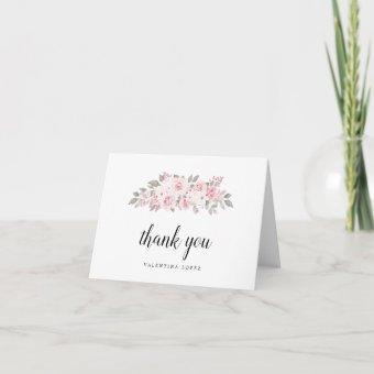 Blush Pink Floral Photo Thank You