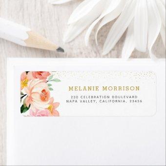 Blush Pink Floral Return Address Label