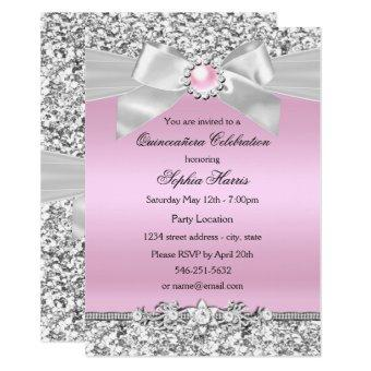 Pearl quinceanera invitations quinceanera invitations blush pink glitter pearl bow birthday bookmarktalkfo Gallery