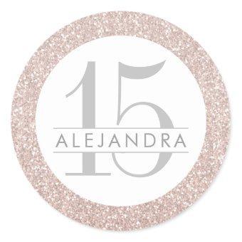 Blush Pink Glitter Quince Años Favor Sticker Label