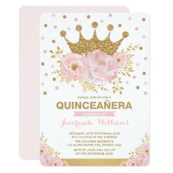 Blush Pink Gold Floral Crown Princess Quinceañera