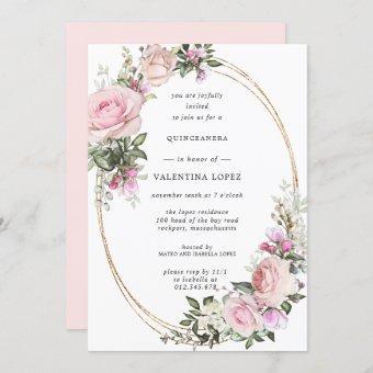 Blush Pink Rose Floral Gold