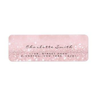 Blush Pink Rose Glitter RSVP Return Address Labels