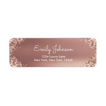 Blush Pink Rose Gold Glitter and Sparkle Label