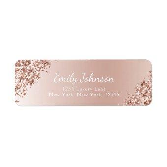 Blush Pink Rose Gold Glitter Sparkle Foil Label