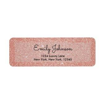 Blush Pink Rose Gold Glitter Wedding Label