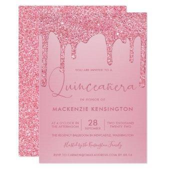 Blush Pink Sparkle Glitter Drips Quinceañera