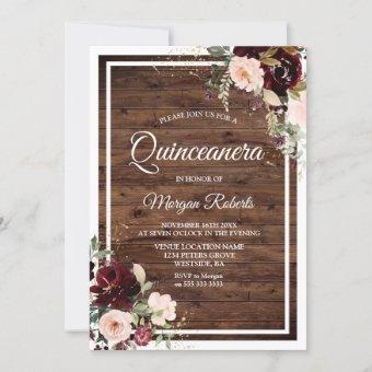 Blush & Red Wine Floral Rustic Party