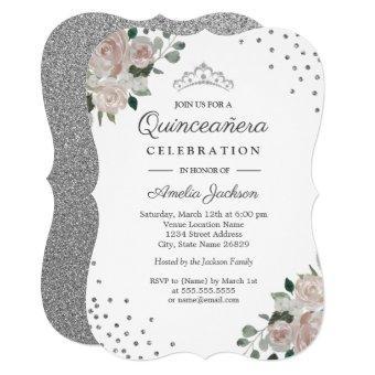Blush Silver Floral Confetti Invite