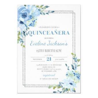 Boho blue floral silver frame rustic