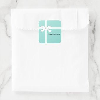 BRIDE & CO Teal Blue Shower Personalized Party Square Sticker