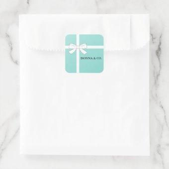 BRIDE Glam Teal Blue Shower Personalized Party Square Sticker