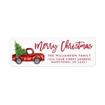 Brush Script Vintage Truck Christmas Red Label