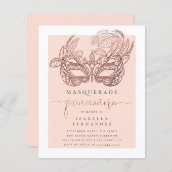 Budget Blush Gold Masquerade Quinceañera Birthday