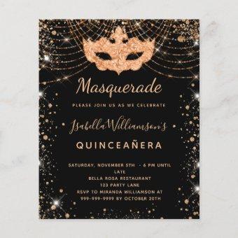 Budget masquerade black gold glitter