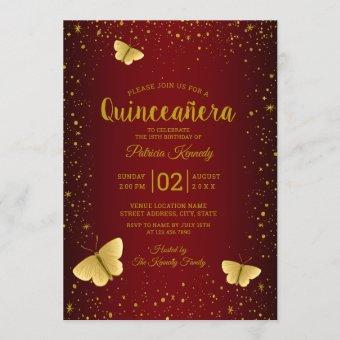 Burgundy And Gold Glitter Butterfly