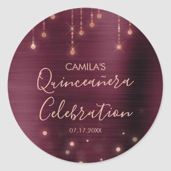 Burgundy and Rose Gold Party Classic Round Sticker