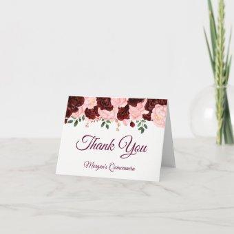 Burgundy Blush Pink Roses Thank You