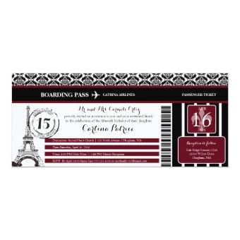 Burgundy Damask Paris Boarding Pass