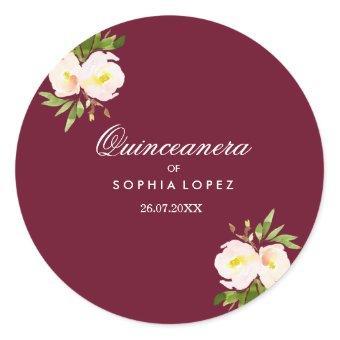 Burgundy Elegant Floral Sticker