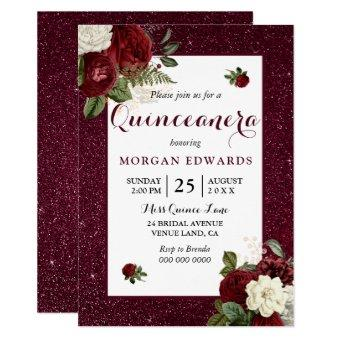 Burgundy Floral Faux Metallic Quinceanera Invite