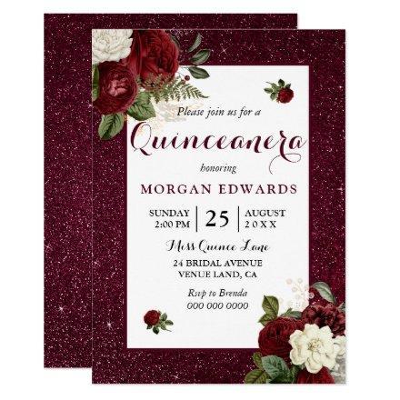 Burgundy Floral Faux Metallic Invite