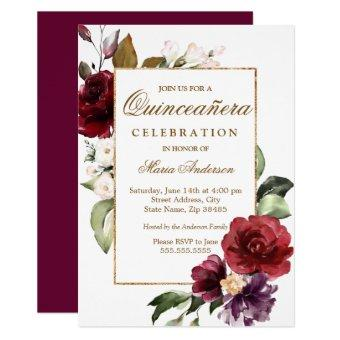 Burgundy Floral Gold Border Party