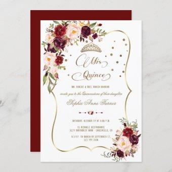 Burgundy Floral Gold Mis Quince Script Quinceañera