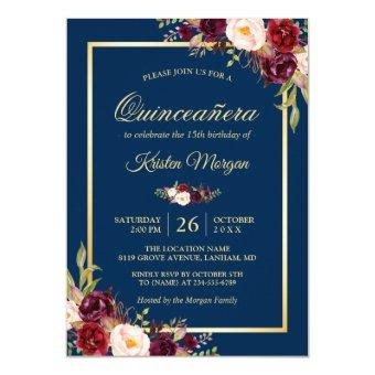 Burgundy Floral Navy Blue Birthday