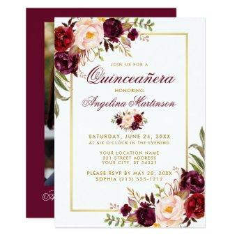 Burgundy Floral Gold Photo Back