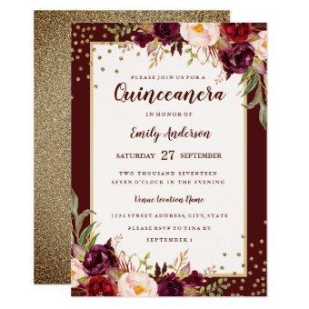Burgundy Gold floral Sparkle Invite