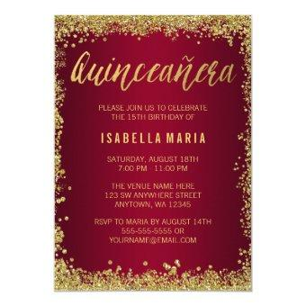 Burgundy Gold Glitter Quinceanera 15th Birthday Invitation