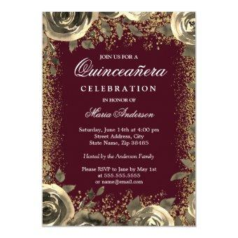 Burgundy & Gold Sparkle Glitter Invite