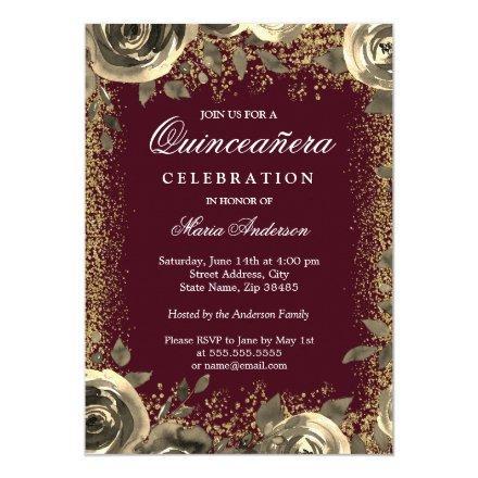 Burgundy & Gold Sparkle Glitter Invite