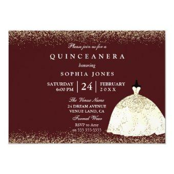 Burgundy Golden Dress Glitter Quinceanera Invite
