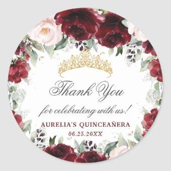 Burgundy Pink Floral Favor Thank You Classic Round Sticker