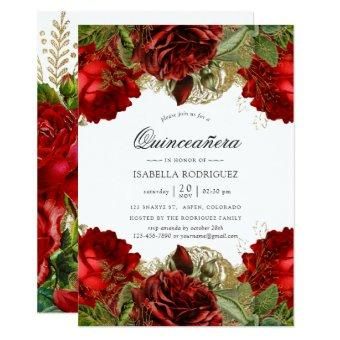 Burgundy Red and Gold Vintage Roses Quinceañera