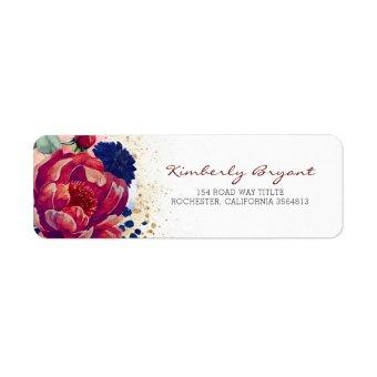 Burgundy Red and Navy Blue Floral Label