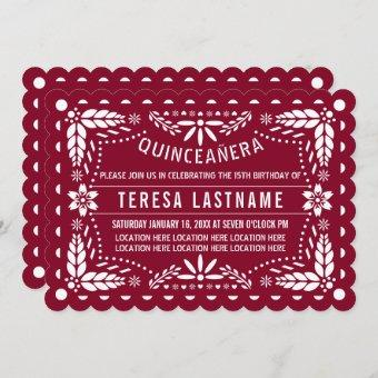Burgundy red and white papel picado Quinceañera