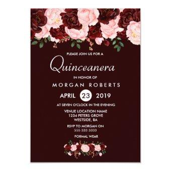 Burgundy Red Blush Flowers Invite