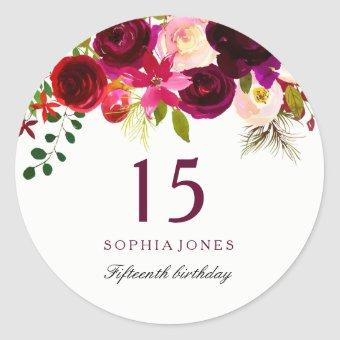 Burgundy Red Floral Boho 15th Birthday Party Classic Round Sticker